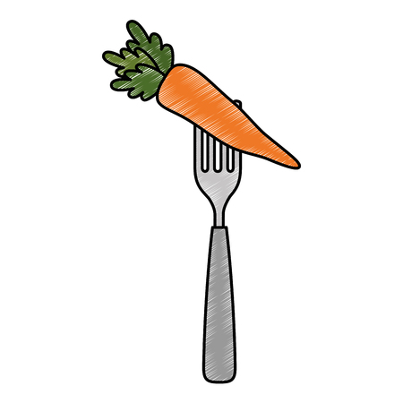 fresh carrot in fork vegetarian food vector illustration design