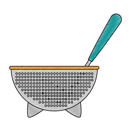 kitchen colander and ladle vector illustration design