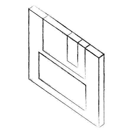 floppy backup memory security isometric vector illustration sketch Illustration