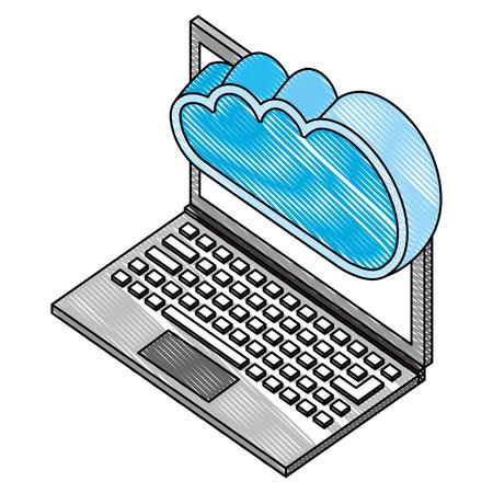laptop cloud computing storage data server isometric vector illustration drawing Stock Vector - 102109366