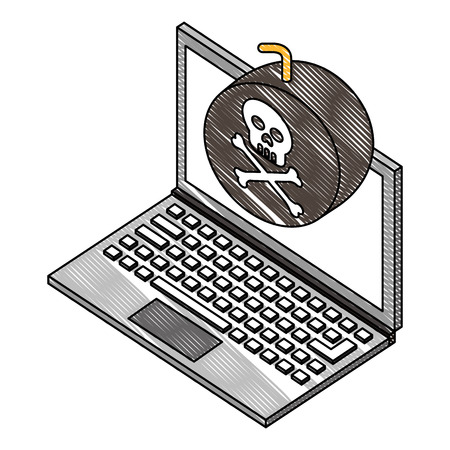 laptop bomb danger hacking isometric vector illustration drawing