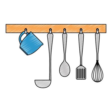 set kitchen cutlery hanging vector illustration design