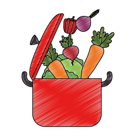 vegetables cooking in kitchen pot vector illustration design