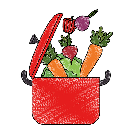 vegetables cooking in kitchen pot vector illustration design
