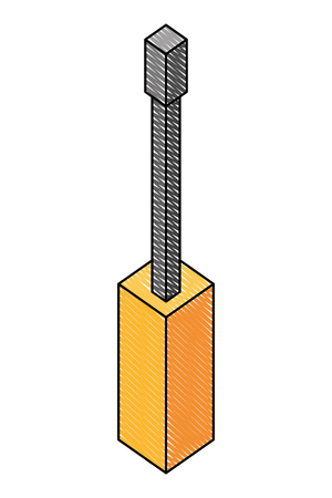 screwdriver tool isometric icon vector illustration design  イラスト・ベクター素材