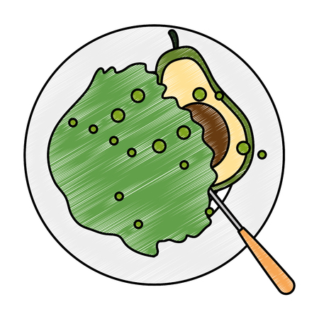 delicious vegetable salad on plate and cutlery vector illustration design Illustration