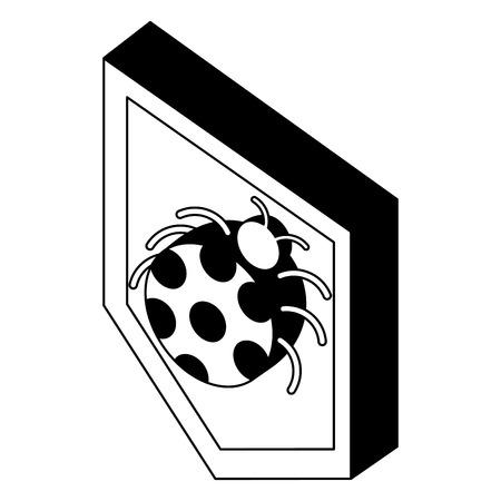 security shield with ladybug isometric vector illustration design