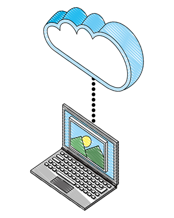 laptop device connects to cloud storage isometric vector illustration drawing