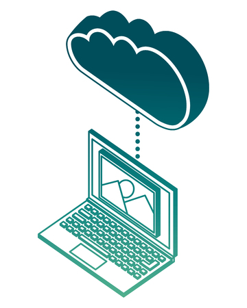 laptop device connects to cloud storage isometric vector illustration