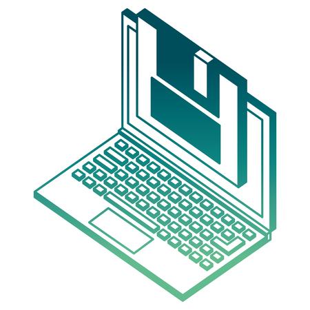 laptop floppy backup information isometric vector illustration