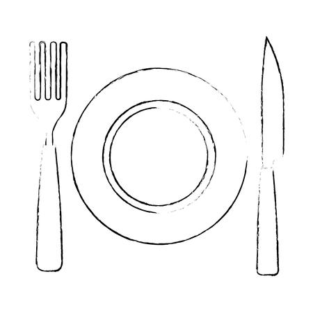schotel met vork en mes vectorillustratieontwerp Vector Illustratie