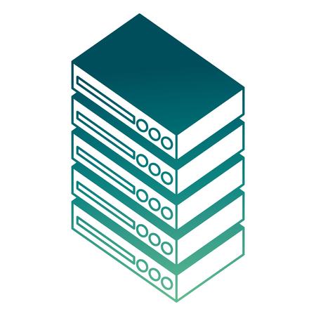 database center server digital technology isometric vector illustration Иллюстрация