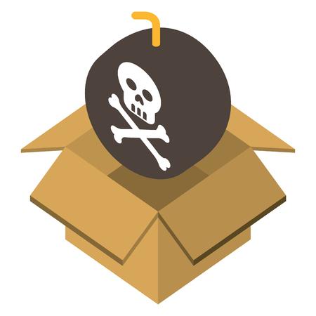 danger bomb skull in box storage isometric vector illustration Illustration