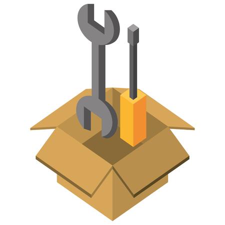 support repair tools in box isometric vector illustration Illustration