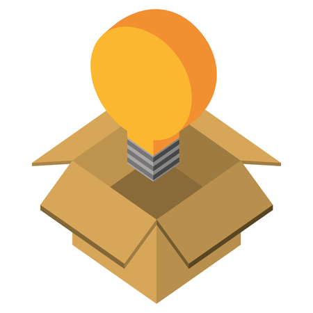 bulb idea creativity in box isometric vector illustration