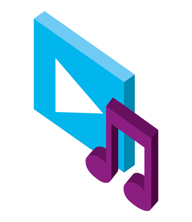 video player button and note music isometric vector illustration