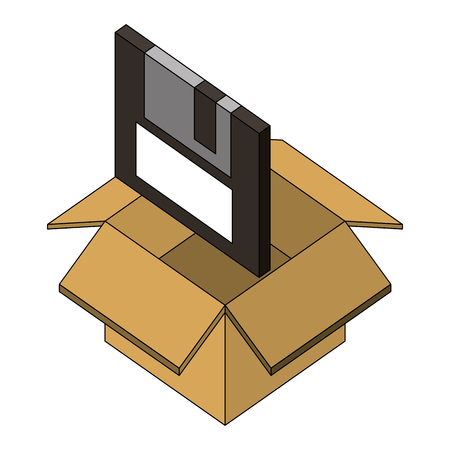 floppy disk nformation in box isometric vector illustration