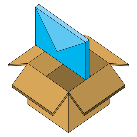 email message in box storage isometric vector illustration Çizim