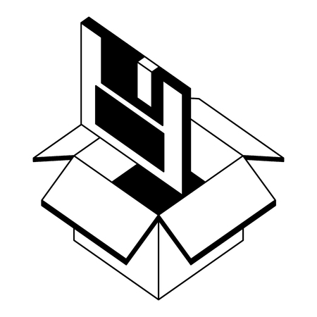 floppy disk nformation in box isometric vector illustration black and white 向量圖像