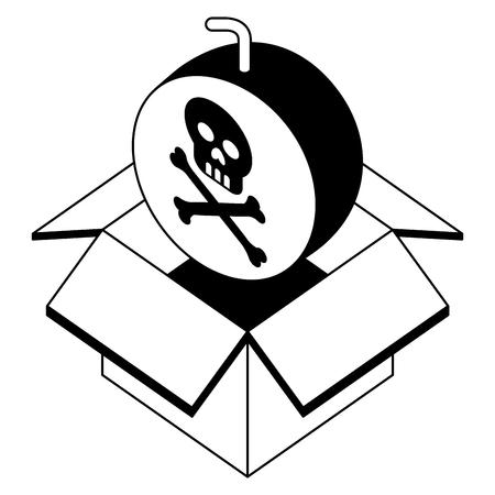 danger bomb skull in box storage isometric vector illustration black and white