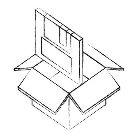 floppy disk nformation in box isometric vector illustration sketch Illustration
