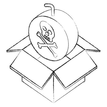 danger bomb skull in box storage isometric vector illustration sketch Illustration