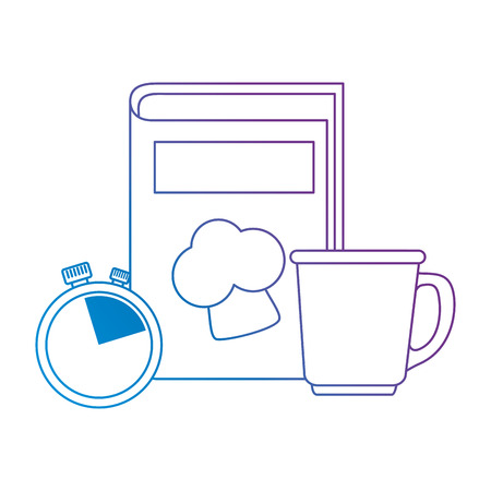 book recipes with coffee cup and chronometer vector illustration design