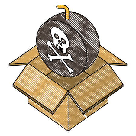 bomb with skull alert in box carton vector illustration design Ilustração