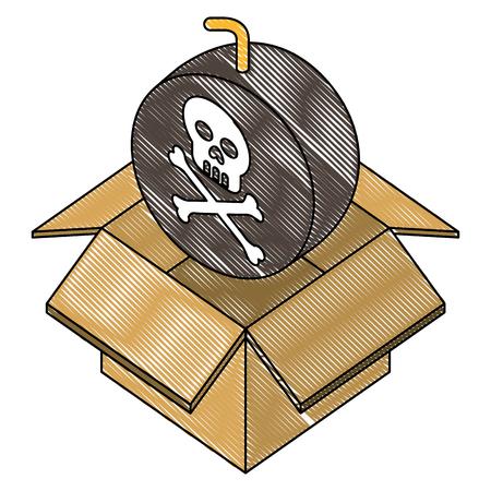 bomb with skull alert in box carton vector illustration design Illustration