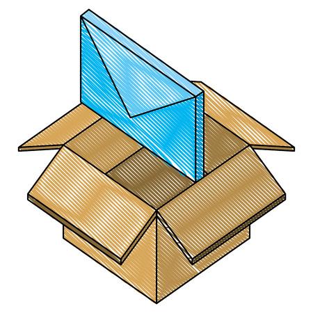 envelope mail isometric icon vector illustration design Ilustração