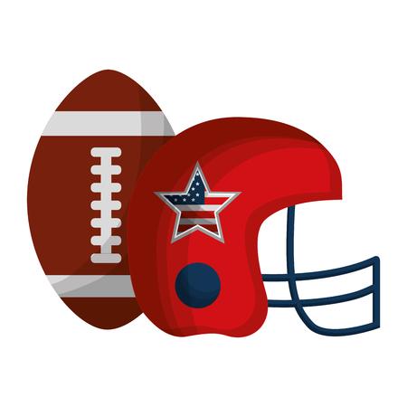 american football helmet and balloon with USA flag vector illustration design