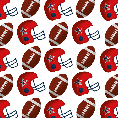 american football balloons and helmet with USA flag pattern vector illustration design