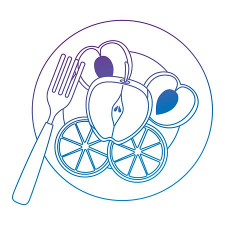 Köstliche set Früchte in Teller mit Gabel gesundes Essen Vektor-Illustration Design Standard-Bild - 102029197