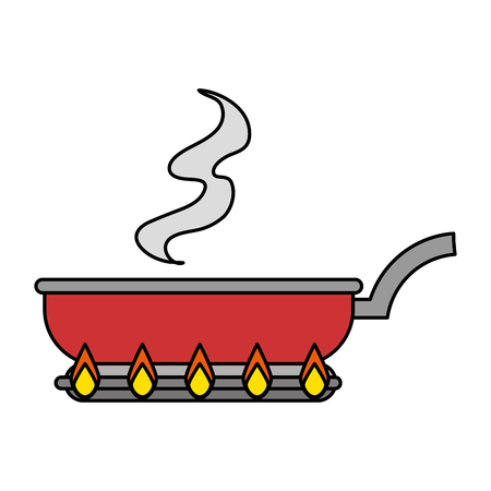 kitchen pan in oven vector illustration design