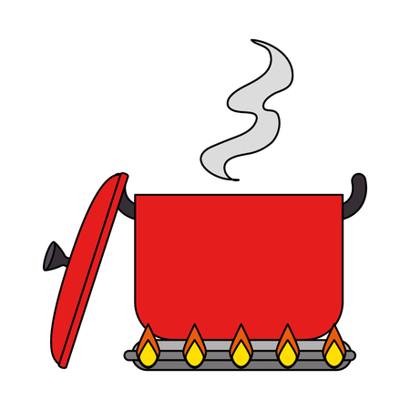 kitchen pot cooking in oven vector illustration design