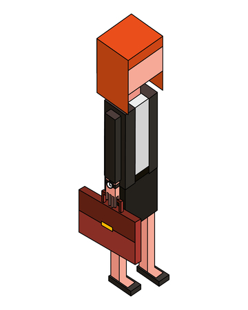 business woman in suit holding briefcase isometric vector illustration 일러스트
