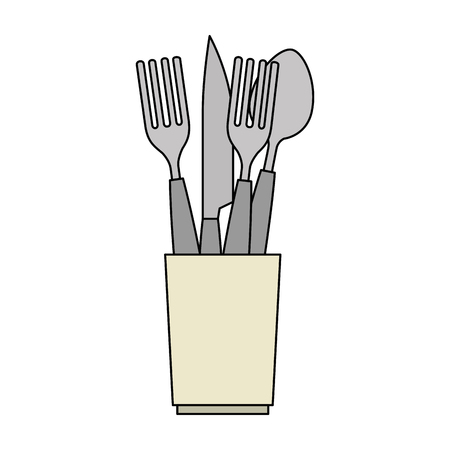 set cutlery tools in cup vector illustration design