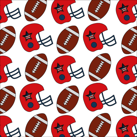 american football helmet and ball decoration background vector illustration
