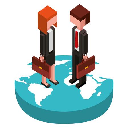 businesscouple in the world isometric avatars characters vector illustration design Foto de archivo - 102029307