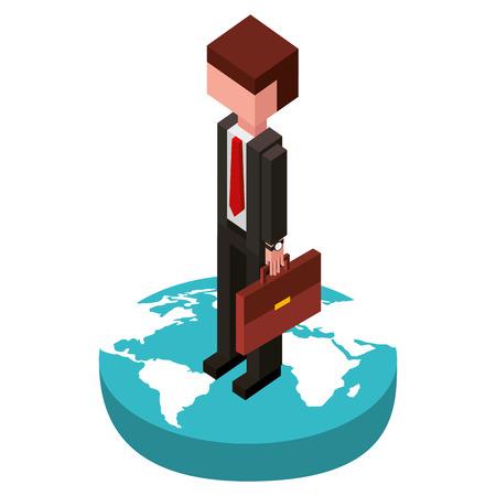 businessman in the world isometric avatar character vector illustration design