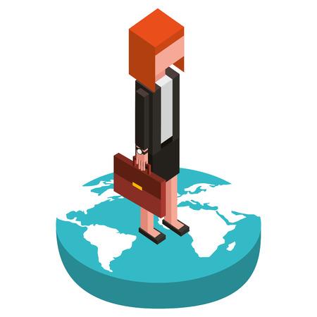 Empresaria en el mundo avatar carácter de ilustración vectorial de diseño isométrico Foto de archivo - 102109786
