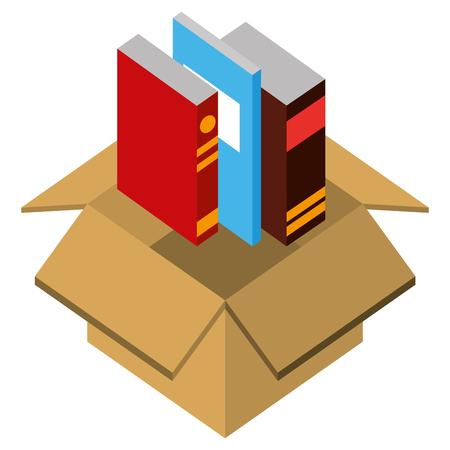 text books in box isometric icon vector illustration design Ilustração