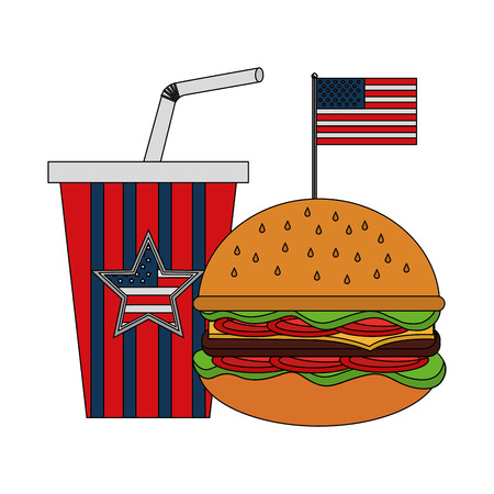 hamburger soda with flag american independence day vector illustration Çizim