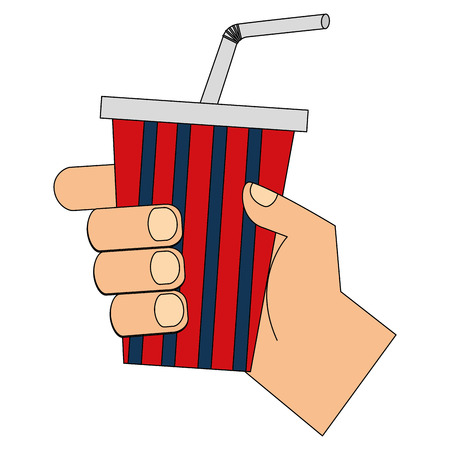 hand holding soda cup with straw vector illustration Banco de Imagens - 102021253