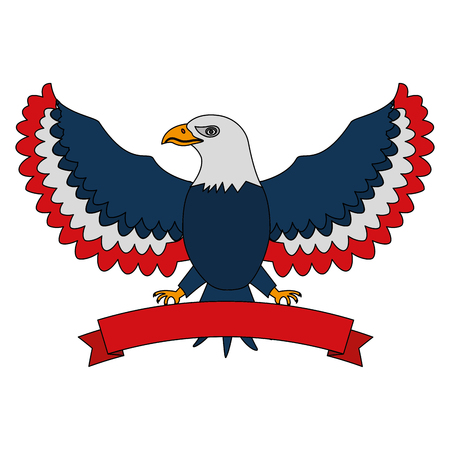 american eagle with usa flag color ribbon mascot vector illustration 일러스트