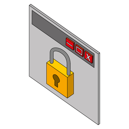 website cyber security protection information vector illustration