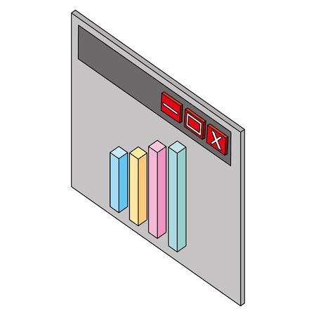 website financial statistics graph isometric vector illustration Иллюстрация
