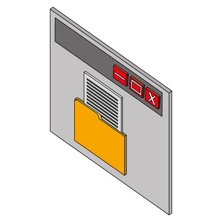 website page folder file document isometric vector illustration