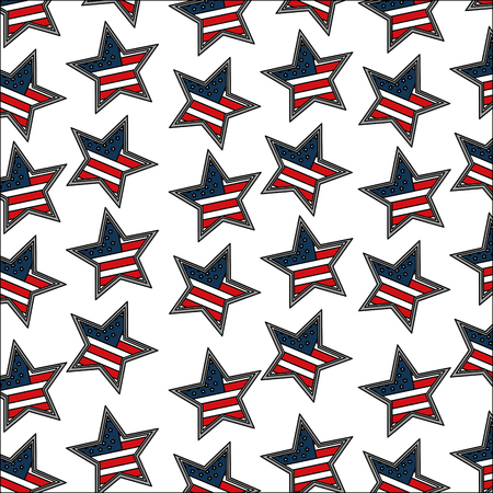 american flag in star decoration pattern vector illustration