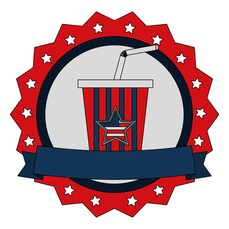 soda cup beverage with american flag emblem vector illustration Ilustração